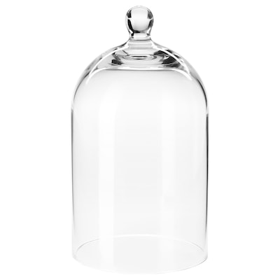 MORGONTIDIG Glass dome, clear glass, 18 cm