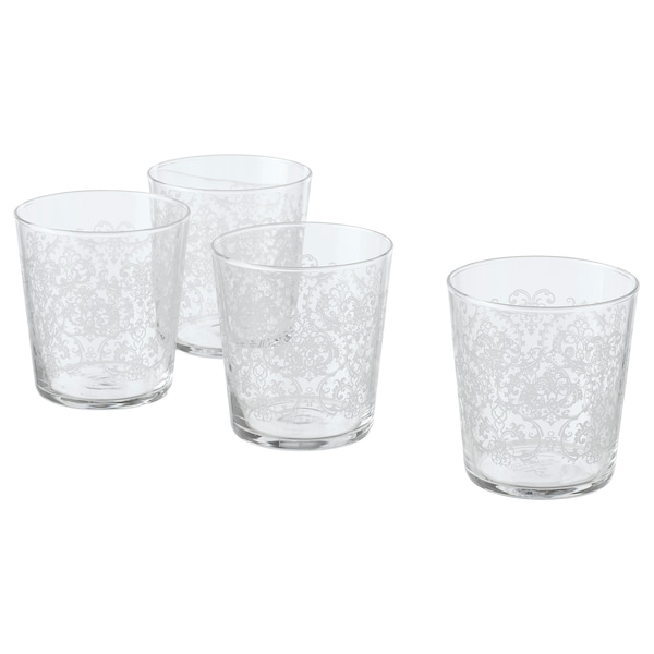 MUSTIGHET Glass, patterned/white, 30 cl