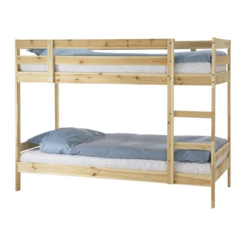 MYDAL Bunk bed frame   The ladder mounts on the right or the left side of the bed.