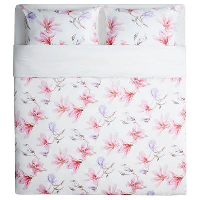 MYRNÄVA Duvet cover and 2 pillowcases, floral patterned, 240x220/50x80 cm