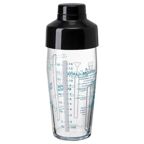 NAPPERA shaker clear glass/black 21 cm