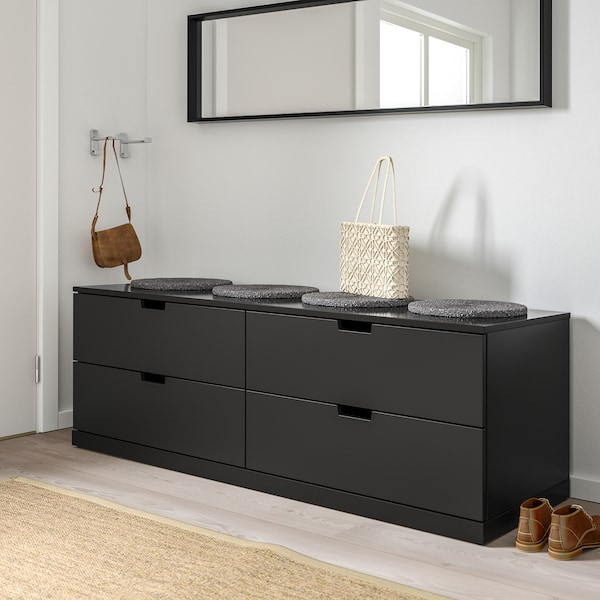 NORDLI Chest of 4 drawers, anthracite, 160x54 cm