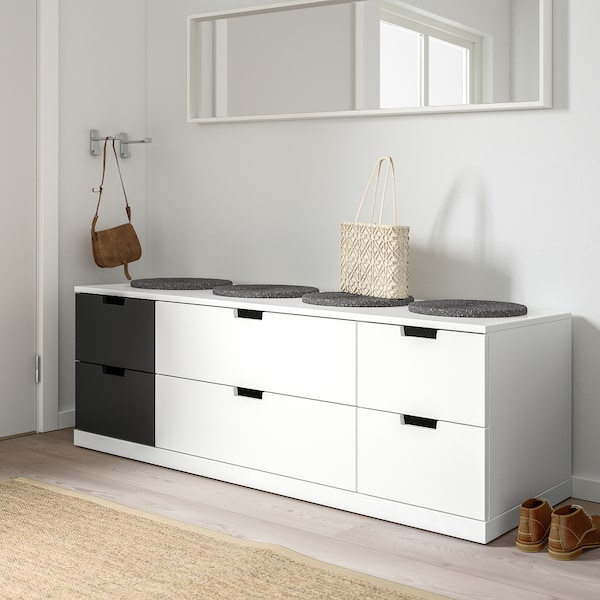 NORDLI خزانة بـ 6 أدراج, أبيض/فحمي, 160x54 سم