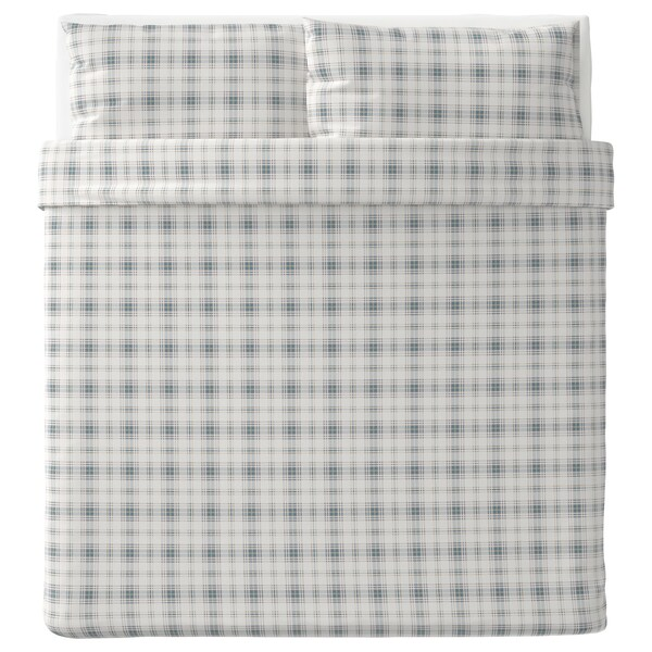 Copripiumino Flanella Matrimoniale Ikea.Nordruta Quilt Cover And 2 Pillowcases White Blue Ikea