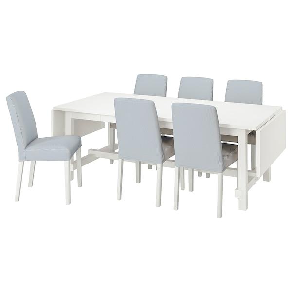 NORDVIKEN / BERGMUND Table and 6 chairs, white/Rommele dark blue/white, 210/289 cm