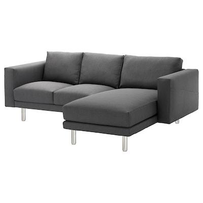 NORSBORG 3-seat sofa, with chaise longue/Finnsta dark grey/metal