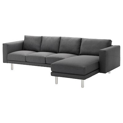 NORSBORG 4-seat sofa, with chaise longue/Finnsta dark grey/metal