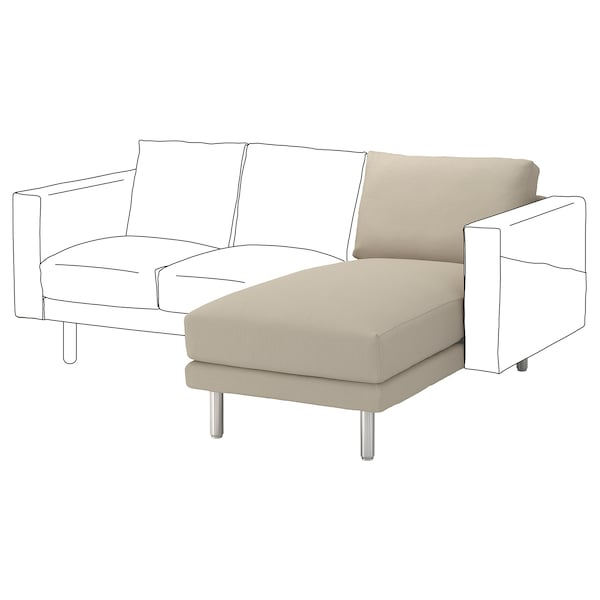 NORSBORG Chaise longue section, Edum beige/metal
