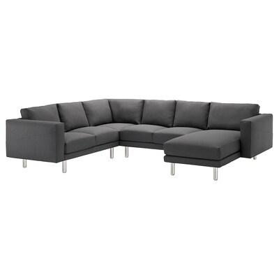 NORSBORG Corner sofa, 5-seat, with chaise longue/Finnsta dark grey/metal