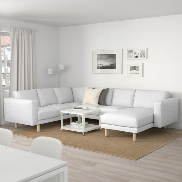 NORSBORG Corner sofa, 5-seat, with chaise longue/Finnsta white/birch