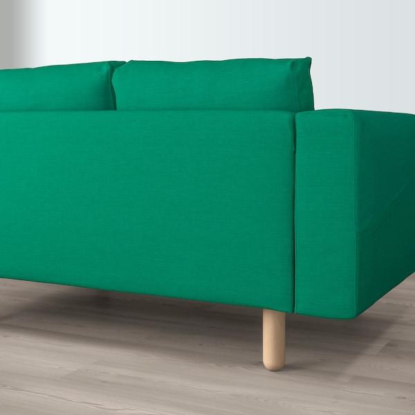 NORSBORG corner sofa, 5-seat with chaise longue/Edum bright green/birch             157 cm 88 cm 85 cm 129 cm 303 cm 225 cm 18 cm 60 cm 43 cm