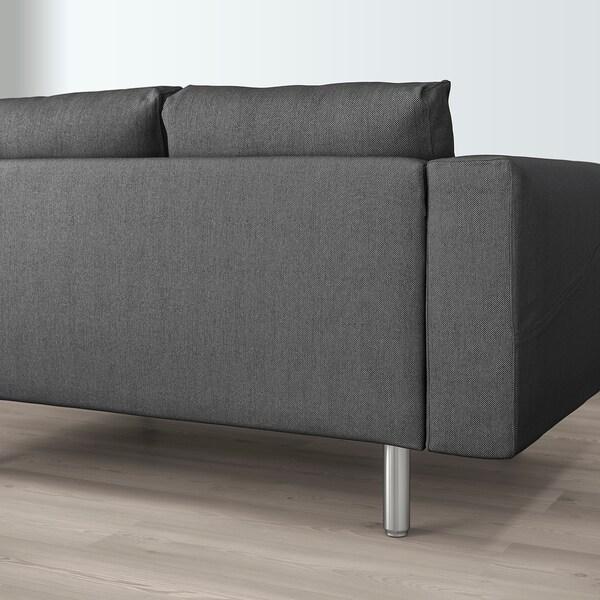 NORSBORG U-shaped sofa, 6 seat, Finnsta dark grey/metal