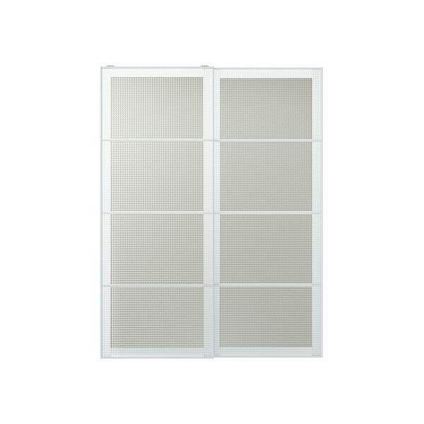 NYKIRKE Pair of sliding doors, frosted glass, check pattern, 150x201 cm