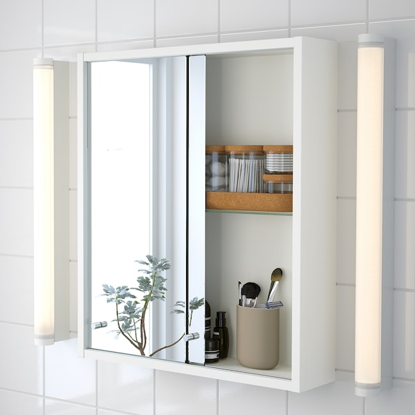 NYSJÖN / BJÖRKÅN Bathroom furniture, set of 5, white/Pilkån tap, 54x40x80 cm