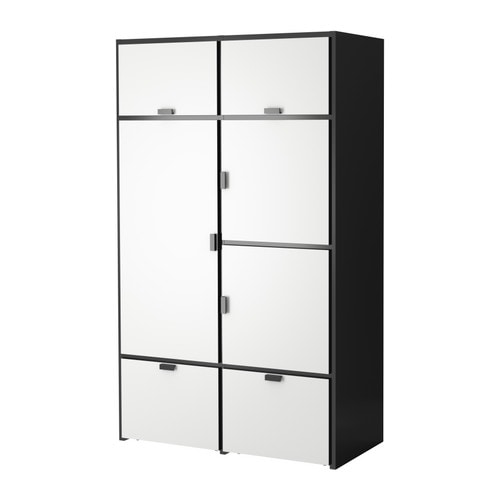 ODDA Wardrobe   The bottom drawers have castors and therefore easy to move about.  Adjustable hinges ensure that the doors hang straight.