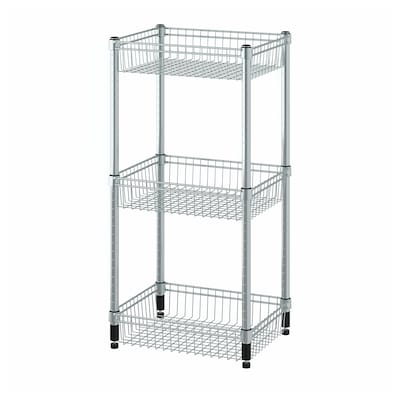 OLAUS Shelving unit with 3 baskets, galvanised, 46x36x94 cm