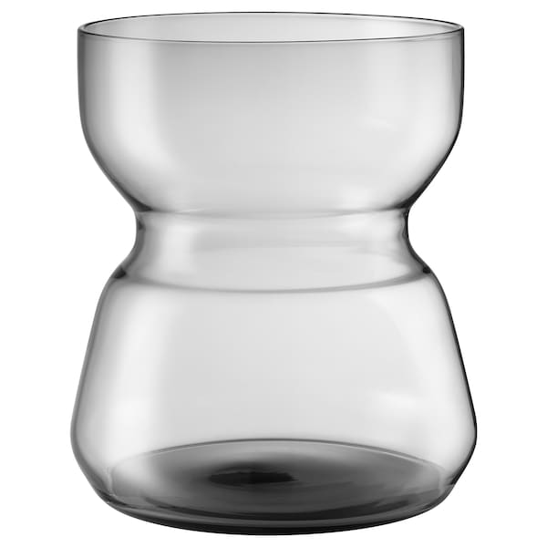 OMTÄNKSAM Vase, light grey, 18 cm
