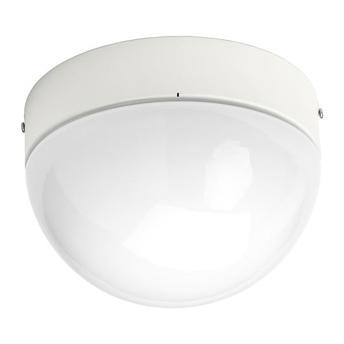 ÖSTANÅ Ceiling/wall lamp   Gives a diffused light; good for spreading light into larger areas of a bathroom.