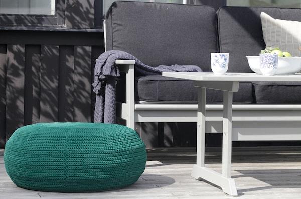 OTTERÖN / INNERSKÄR Pouffe, in/outdoor, dark green, 58 cm