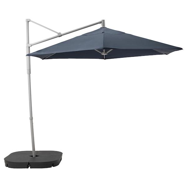 OXNÖ / LINDÖJA Parasol, hanging with base, blue/Svartö dark grey, 300 cm