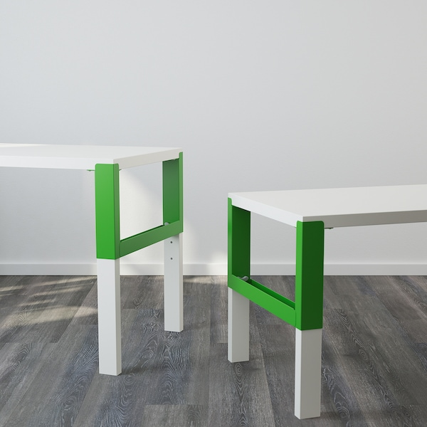 PÅHL Desk with add-on unit, white/green, 96x58 cm