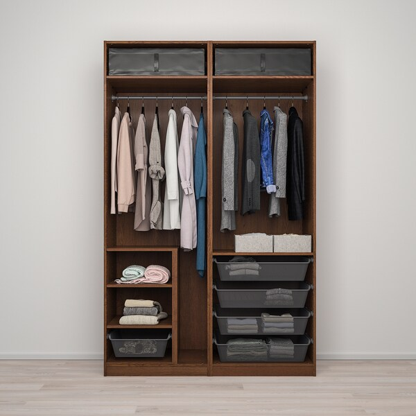 PAX / AULI Wardrobe combination, brown stained ash effect/mirror glass, 150x66x236 cm