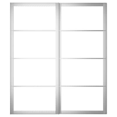 PAX Pair of sliding door frames w rail, aluminium, 200x236 cm