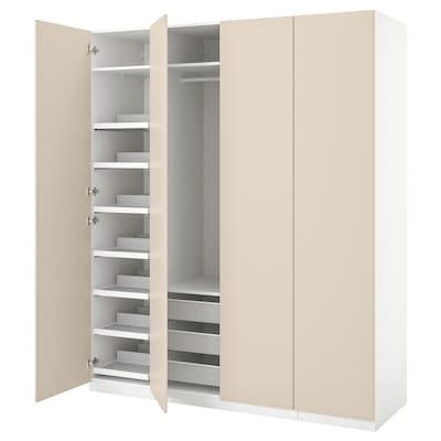 PAX / REINSVOLL Wardrobe combination, white/grey-beige, 200x60x236 cm