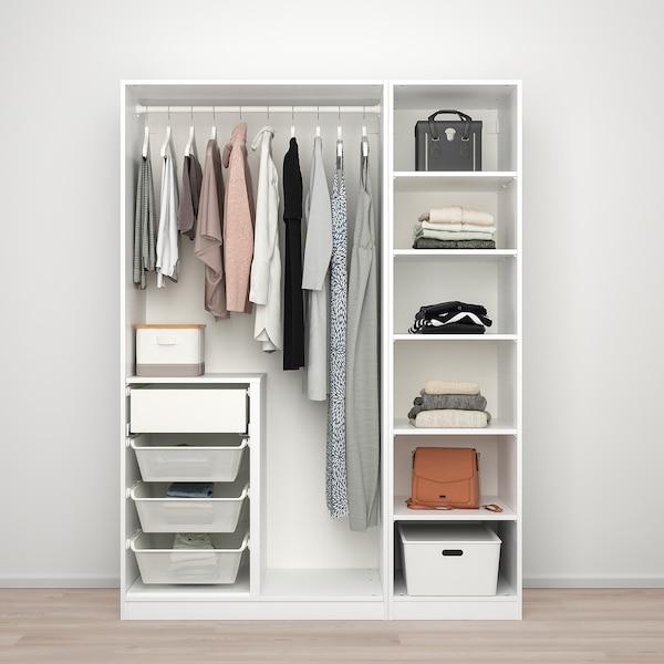 PAX / TYSSEDAL تشكيلة دولاب ملابس., أبيض/زجاج مرايا, 150x60x201 سم
