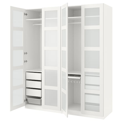 PAX wardrobe white/Bergsbo frosted glass 200 cm 60 cm 236.4 cm