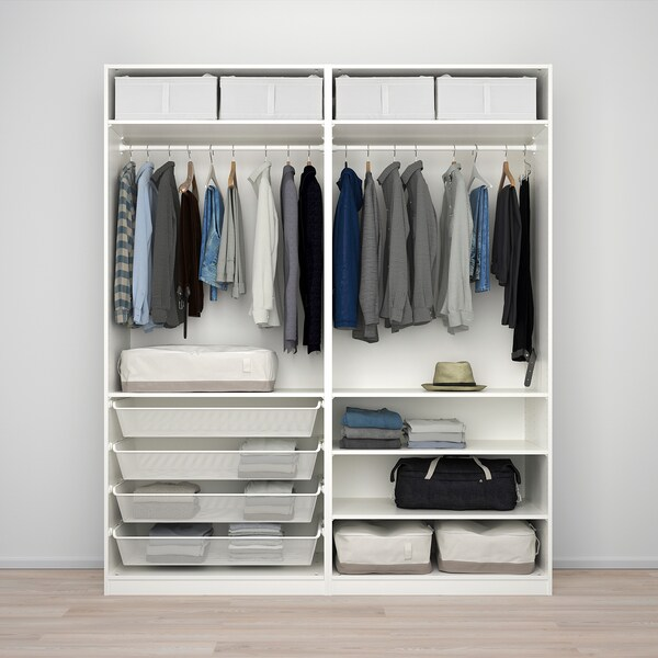 PAX Wardrobe, white/Nykirke frosted glass, check pattern, 200x66x236 cm