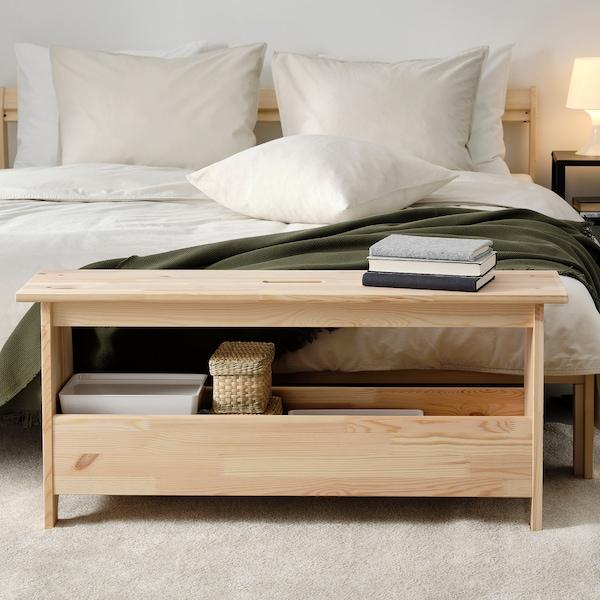 PERJOHAN Bench with storage, pine, 100 cm