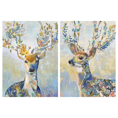 PJÄTTERYD picture colourful reindeer 50 cm 70 cm 2 pieces