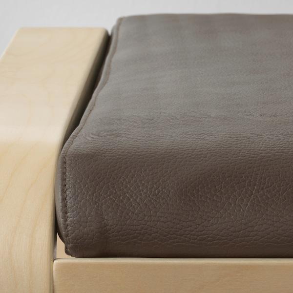 POÄNG Footstool, birch veneer/Glose dark brown