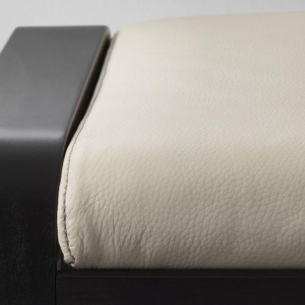 POÄNG Footstool, black-brown/Glose eggshell