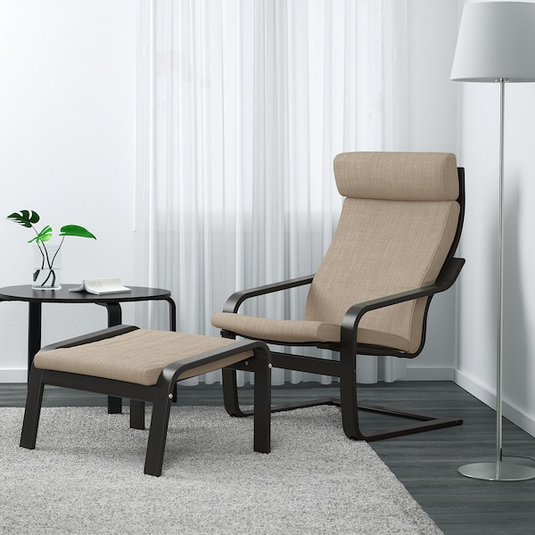 POÄNG Footstool, black-brown/Hillared beige