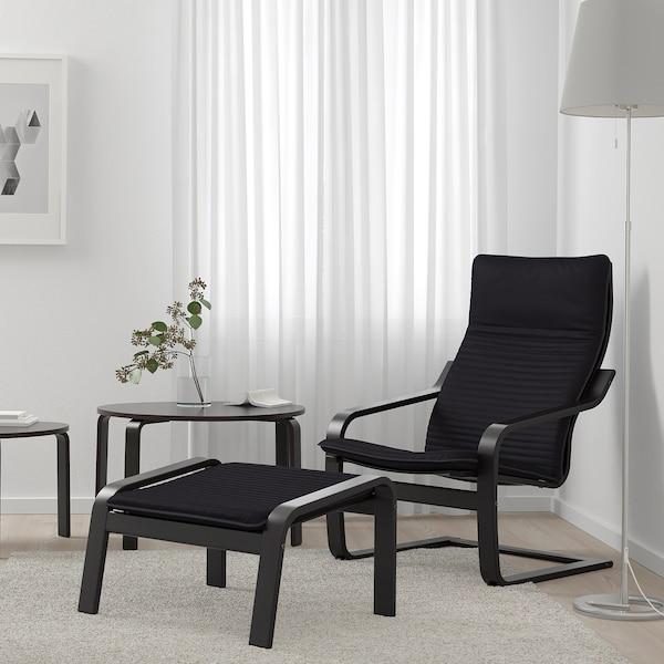 POÄNG Footstool, black-brown/Knisa black