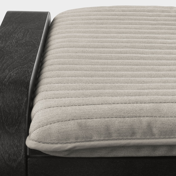 POÄNG Footstool, black-brown/Knisa light beige