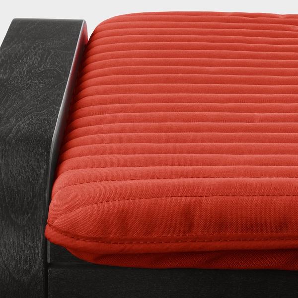 POÄNG Footstool, black-brown/Knisa red/orange