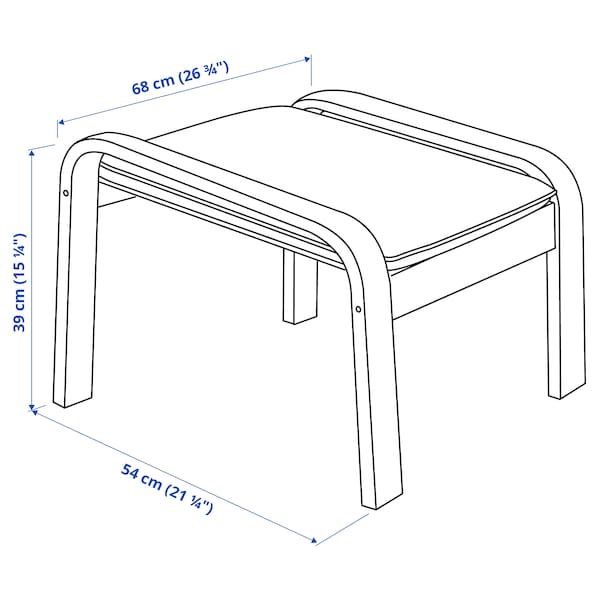 POÄNG Footstool, black-brown/Skiftebo dark grey