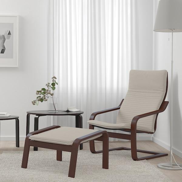 POÄNG Footstool, brown/Knisa light beige