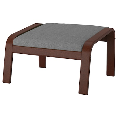POÄNG Footstool, brown/Lysed grey