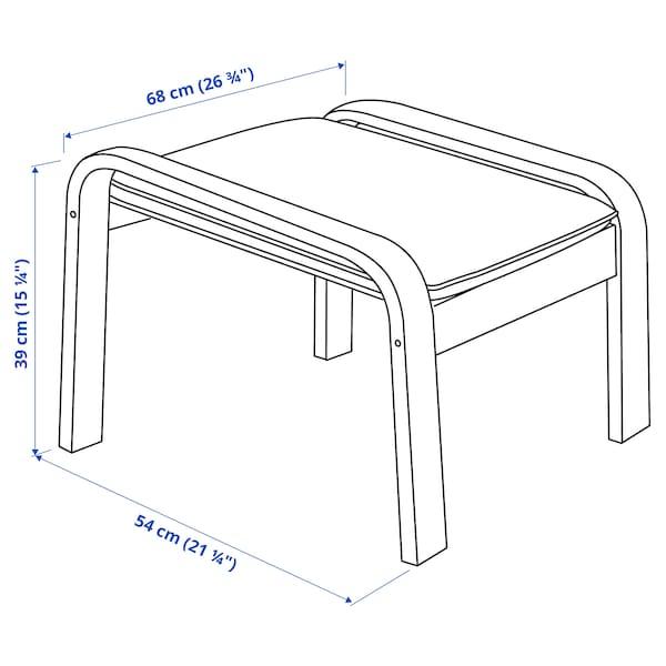 POÄNG Footstool, white stained oak veneer/Glose eggshell