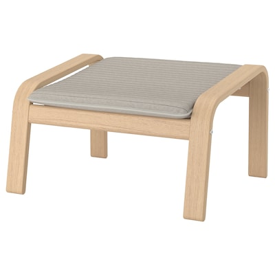 POÄNG Footstool, white stained oak veneer/Knisa light beige