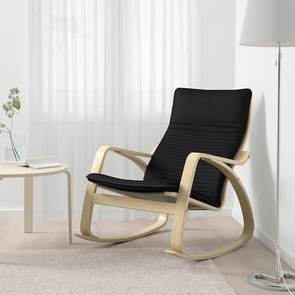 POÄNG كرسي هزّاز, قشرة بتولا/Knisa أسود