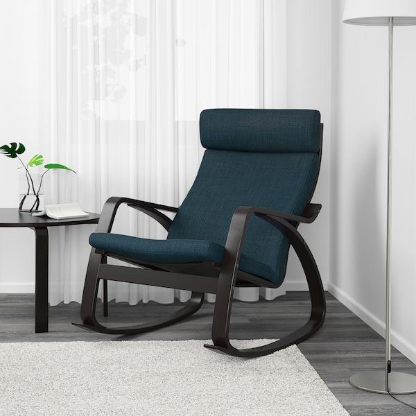 POÄNG Rocking-chair, black-brown/Hillared dark blue