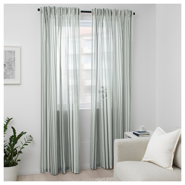 PRAKTKLOCKA Curtains, 1 pair, grey/striped, 145x300 cm