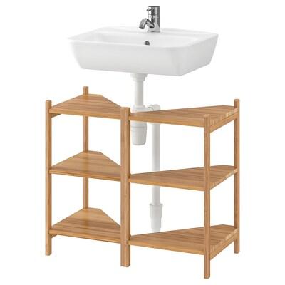 RÅGRUND / TYNGEN Wash-basin/corner shelf, bamboo/Pilkån tap