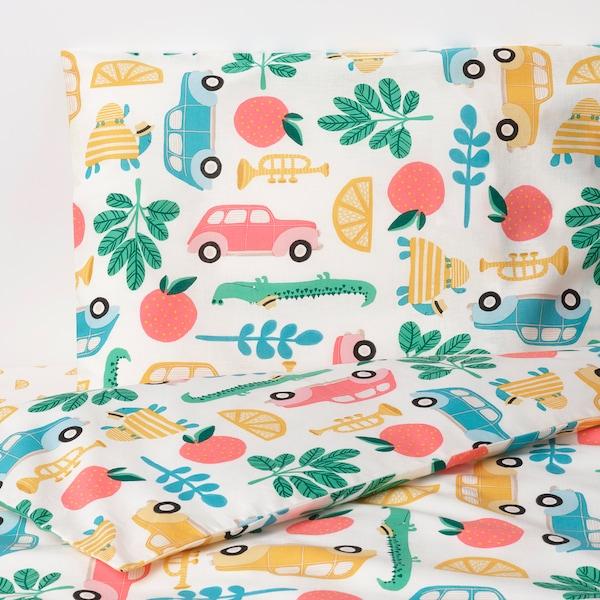RÖRANDE 3-piece bedlinen set for cot, multicolour, 60x120 cm