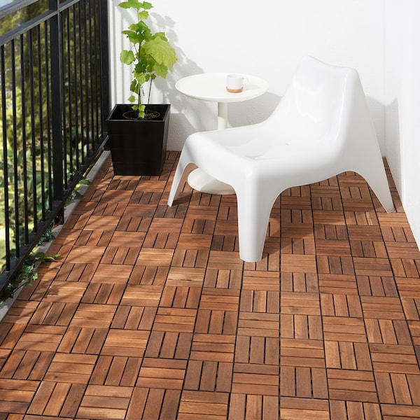RUNNEN Floor decking, outdoor, brown stained, 0.81 m²